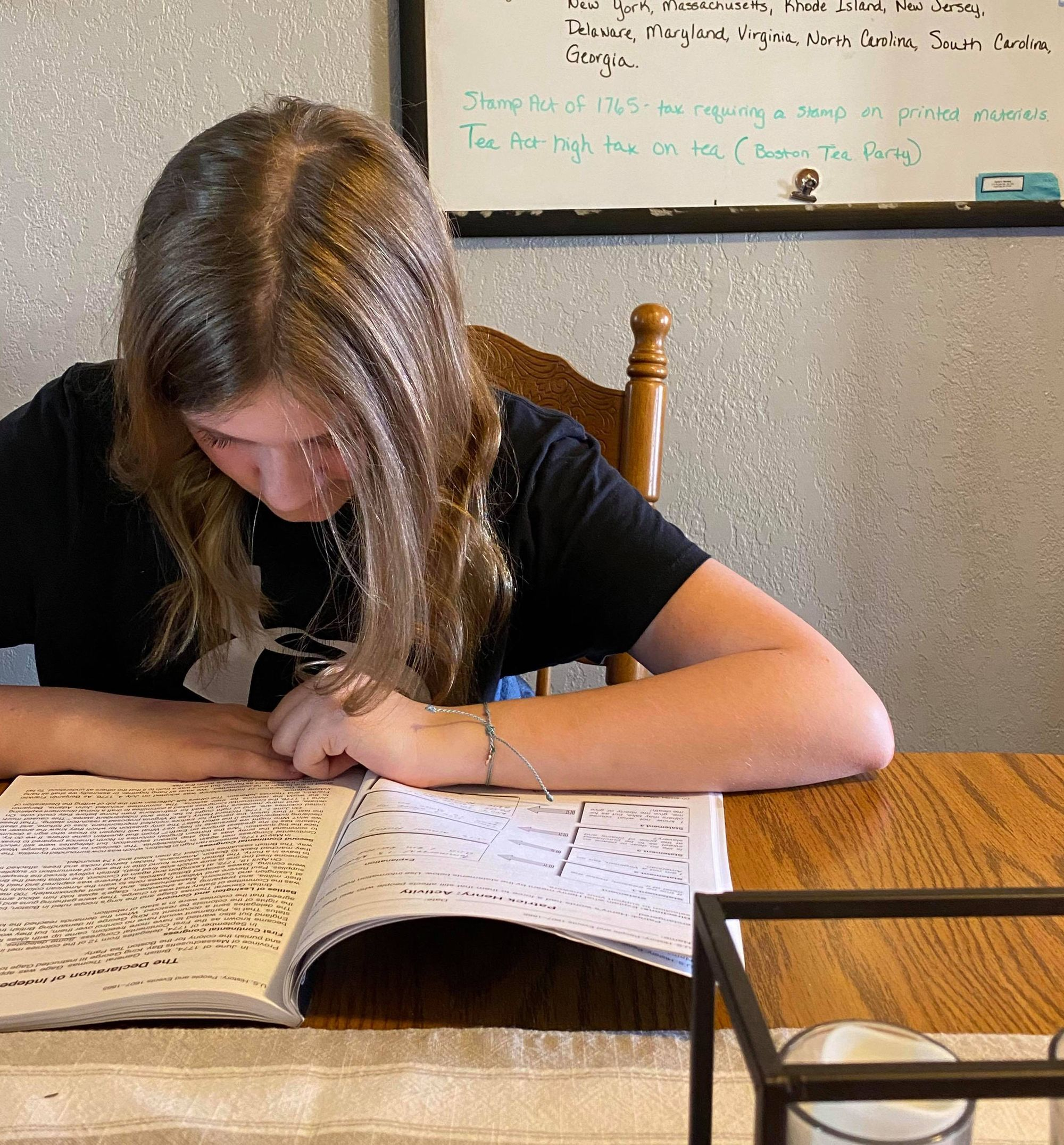 Sioux Falls parent Maureen Patch shows her daughter working on home-schooling