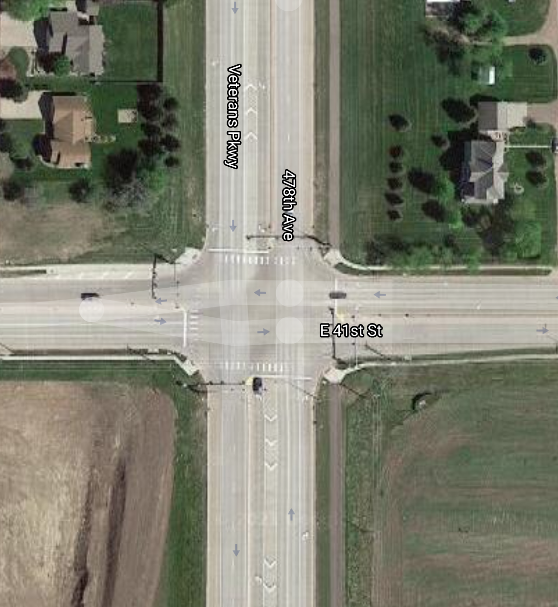 Birds-eye view of 41st Street and Highway 11 (aka Veterans Parkway) via Google Maps.